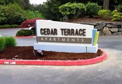 Cedar Terrace Apartments Monument Sign