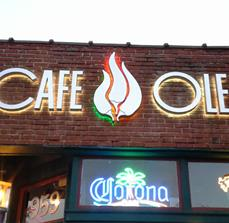 Cafe Ole Illuminated Building Sign