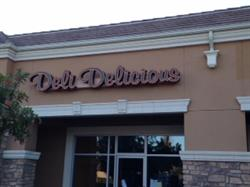 Deli Delicious illuminated channel letters