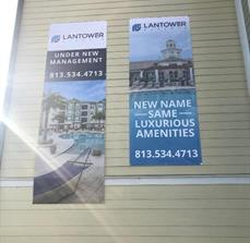 Building banners for branding and promotions for apartment complexes