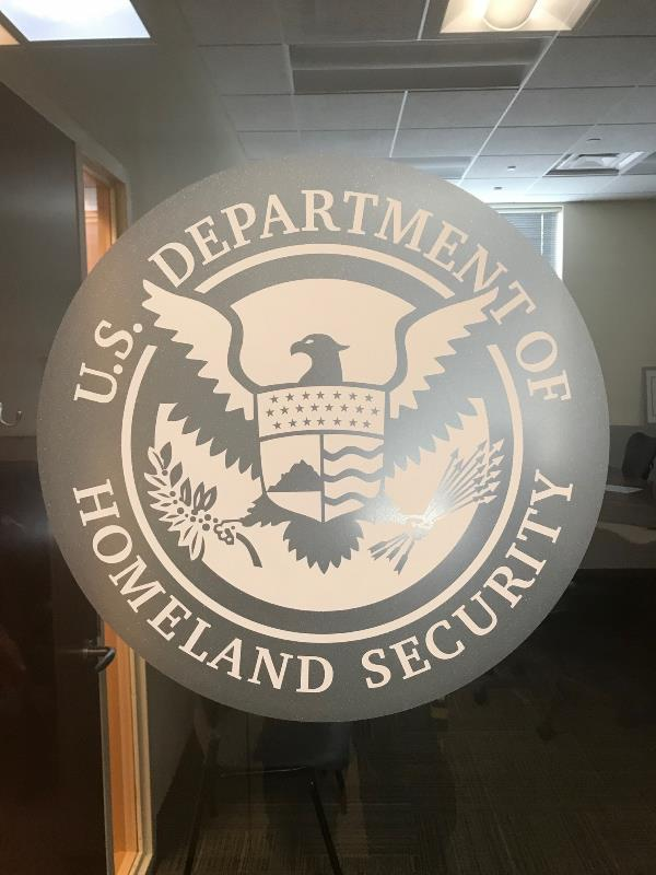 Frosted door vinyl government agency logo without border