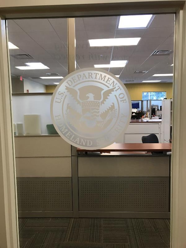 Frosted door vinyl government agency logo
