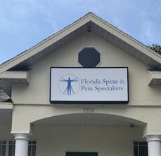 Florida Spine and Pain light box building sign
