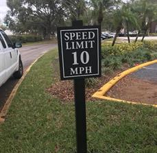 Speed limit signs for communities