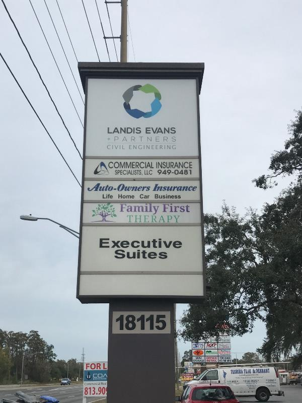 Pylon signage rebranding and new panels for businesses