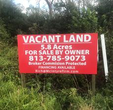 Vacant land site signs for commercial and residential real estate