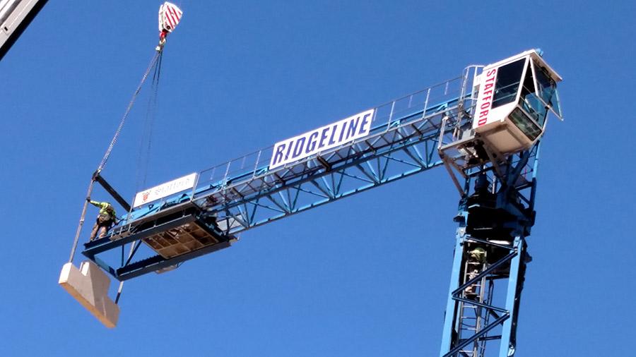 Construction crane banner