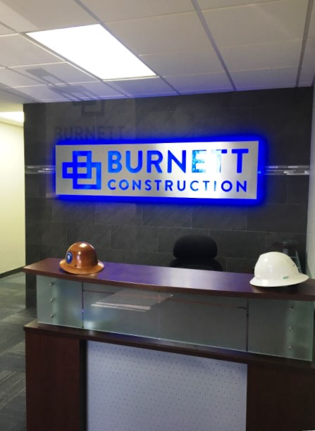 Burnett Construction Indoor Lighted Sign