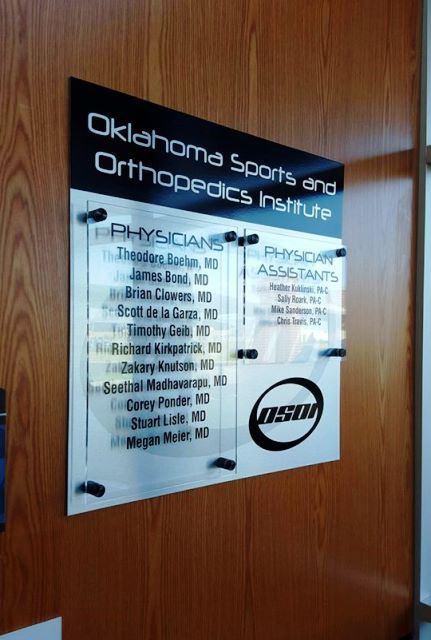 Oklahoma Sports & Orthopedic Institute Interior Acrylic Sign
