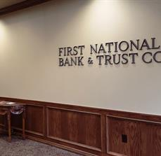 First National Bank Interior Dimensional Letters