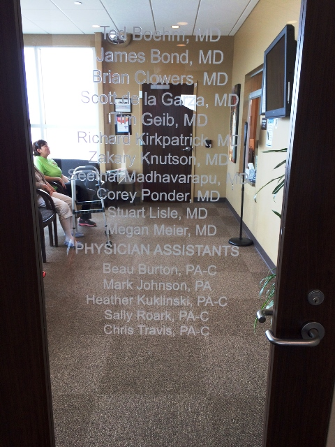 Oklahoma Sports and Orthopedic Institute Door Graphic