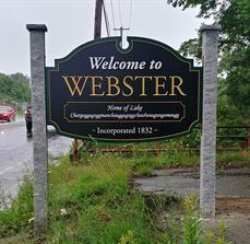 Welcome to The Town Of Webster Carved Sign