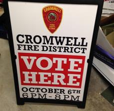 Cromwell Fire District Vote Here Sign