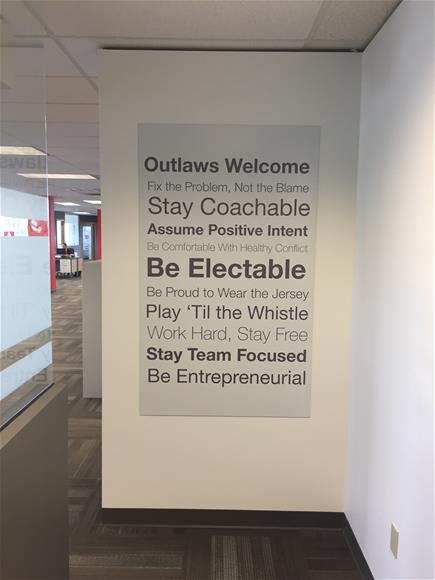 Employee work space motivational office signage