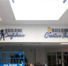 Custom Interior Vinyl Graphic in School Cafeteria