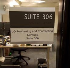 University of Oregon Room Sign for Purchasing & Contracting