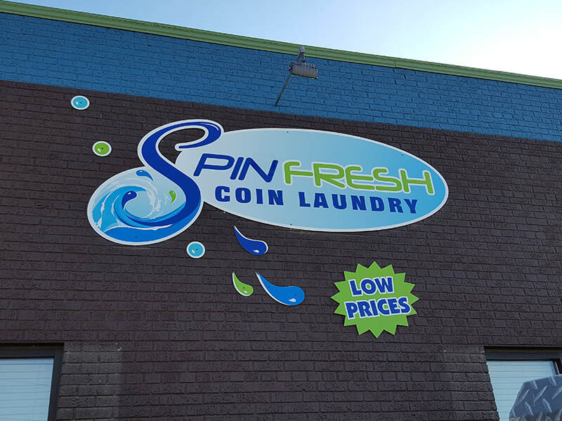 Spin Fresh Coin Laundry Building Sign