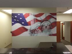 American Flag Vinyl Printed Decal Applied to Wall