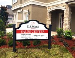 Custom Contour Cut Site Sign for a Home Builder Produced and Installed by FASTSIGNS Baymeadows.