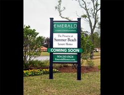 Custom Site Sign for a National Home Builder Produced and Installed by FASTSIGNS Baymeadows.