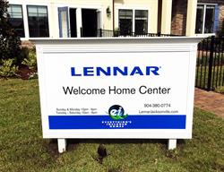 Custom Model Home Site Sign for a Home Builder Produced and Installed by FASTSIGNS Baymeadows.