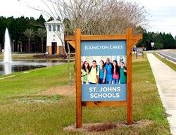 Custom Burma Shave Site Sign for a Home Builder Produced and Installed by FASTSIGNS Baymeadows.