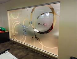 Etched Vinyl Decals Applied to Glass Windows and Doors