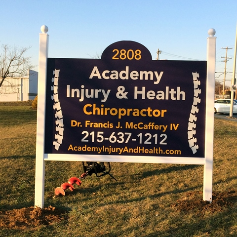 Academy of Injury and Heath Chiropractor Reflective post and Panel