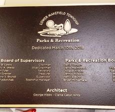 Lower Makefield Parks & Recreation Bronze Plaque