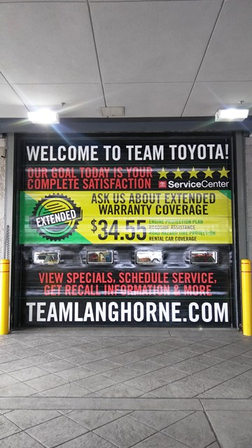 Toyota of Langhorne Garage door vinyl overlay