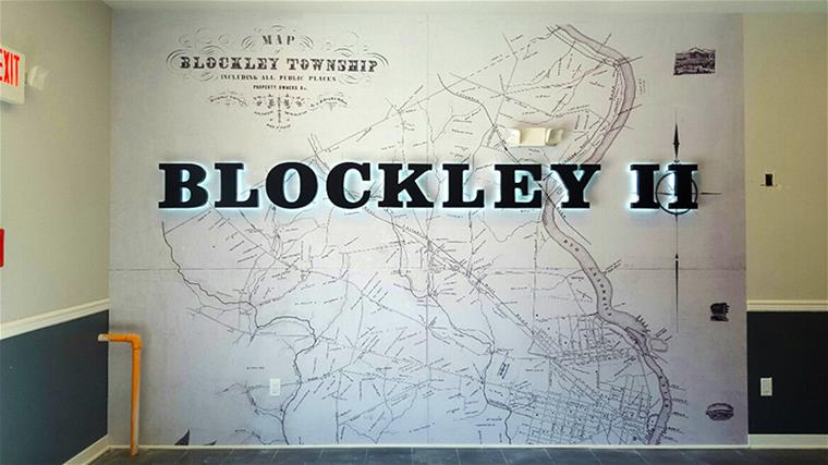Blockley II Wall Graphics With Halo Lit Channel Letters