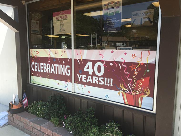Burns Pharmacy Anniversary Window Graphics