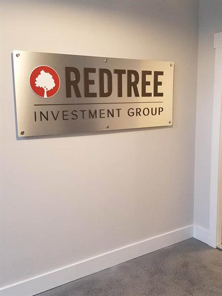Red Tree Lobby Sign