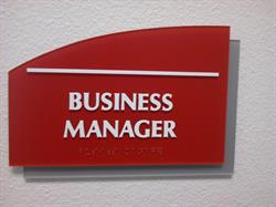 Business Manager Braille Sign