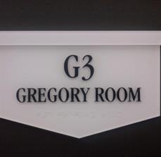 Gregory Room Braille Sign
