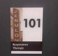 Respiratory Therapy Braille Wall Sign