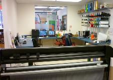 More of the design and vinyl cutting area.