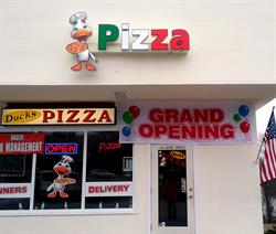 Duck's Pizza Front Illuminated Channel Letters & Logo