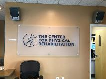 Center for Phys Rehab Rebrand Frosted Acrylic with logo - Dec 2019