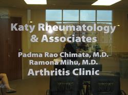 Katy Rheumatology & Associates Front door logo and hours