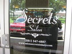 Secrets Salon Vinyl Door Letters