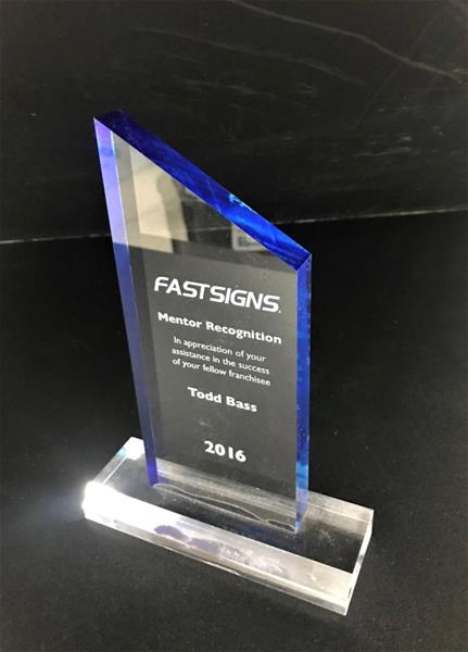 Awarded FASTSIGNS Mentor Recognition for 2016