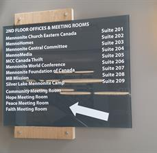 Mennonite Central Committee Interior Sign