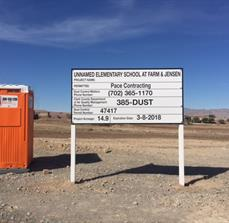 Dust Control Sign for Pace Contracting in Las Vegas, NV
