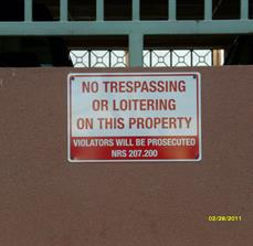 No Trespassing or Loitering