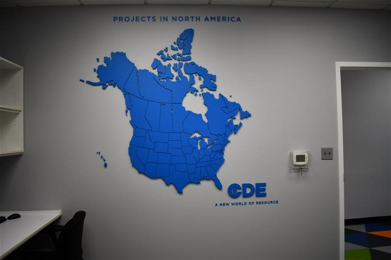CDE Global dimensional wall lettering and graphics