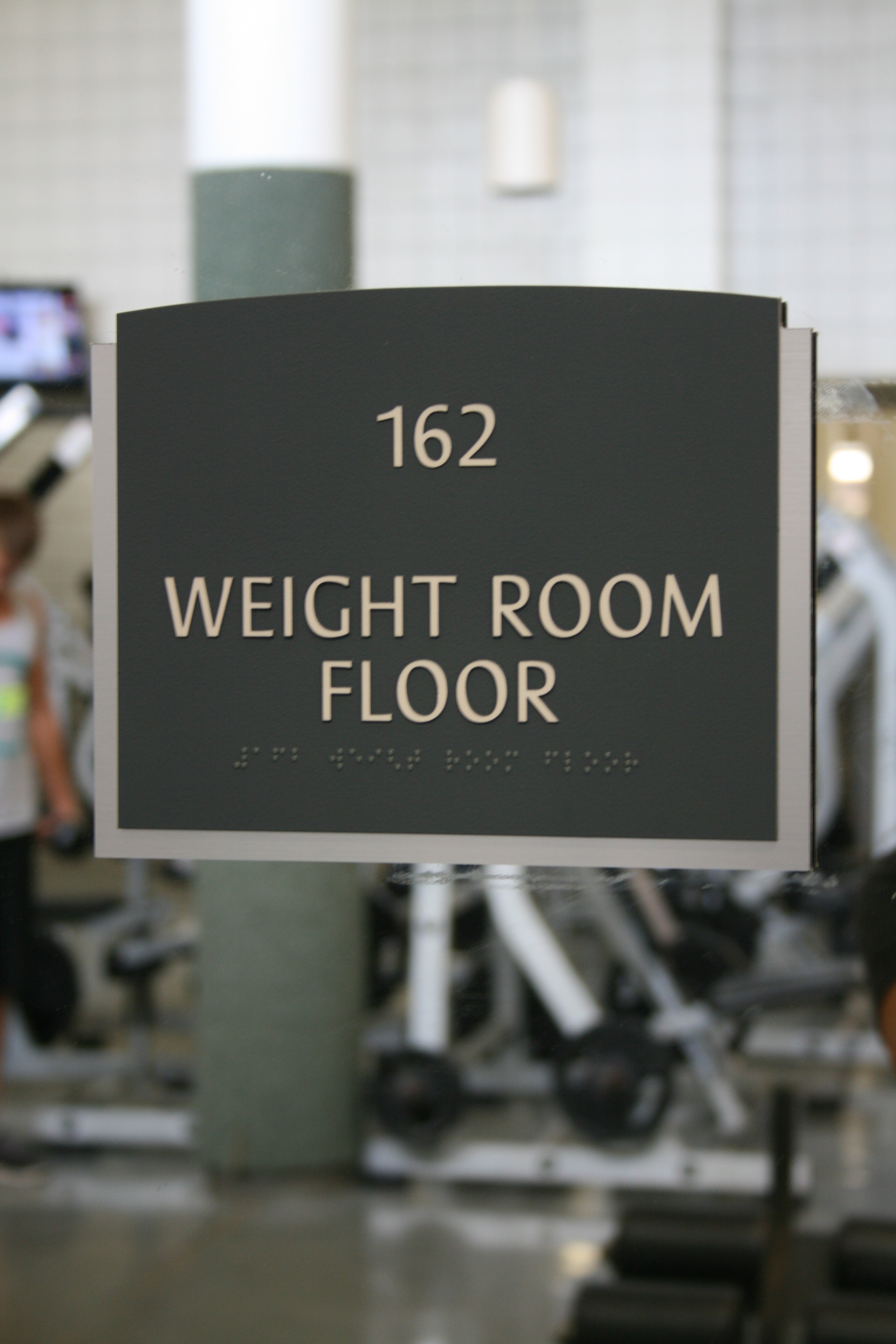 Weight Room Braille Sign