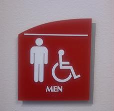 Compliant Men's Restroom Door in Braille