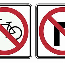 No bikes and No Right Turn Traffic Signs