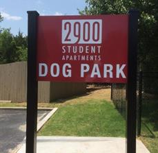 2900 Apartments Dog Park Sign